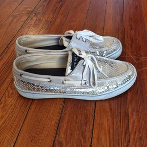 Sperry Top-Sider Women's Silver Sequin Boat Shoes